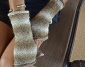 Knitted fingerless gloves arm warmers multicolor cappuchino soft brown tan