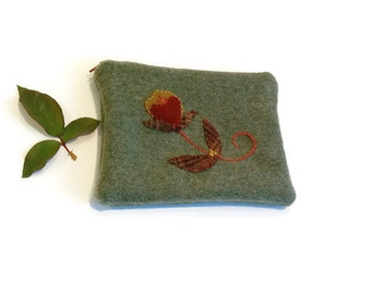 Zippered bag olive green pouch embroidery applique flower russet brown