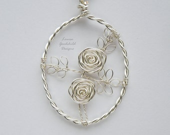 Silver Rose necklace, silver rose pendant MADE TO ORDER wire rose pendant, wire rose necklace, silver rose, copper anniversary