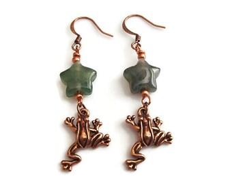 Frog.Agate. Copper.  Star. Dangle Earrings