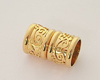 8 Millimeter End Caps, 18 Karat Gold Plated Magnetic End Cap with Decorative Relief Design, Glue in End Cap, Cord End