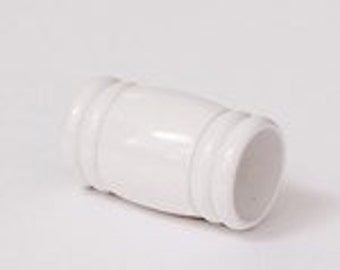 8mm White Magnetic Barrel End Cap, Cord End