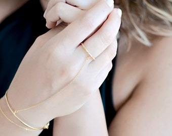 Delicate Slave Bracelet | Dainty Ring Bracelet | Gold Finger Bracelet | Delicate Hand Jewelry | Boho Hand Chain | Chain Hand Bracelet Ring