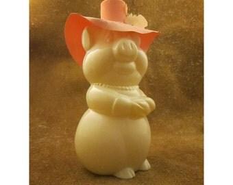Avon Pig Bottle Decanter – Pig with Floppy Bonnet Hat – Figural Glass Pig Bottle - Avon Liquid Cleanser Vintage Bottle