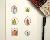 little houses original watercolor painting - wall art - home decor - fairy house