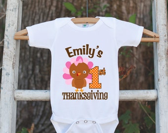 First Thanksgiving Shirt - Thanksgiving Onepiece - Baby's First Thanksgiving With Turkey and Child's Name - Girl First Thanksgiving Outfit