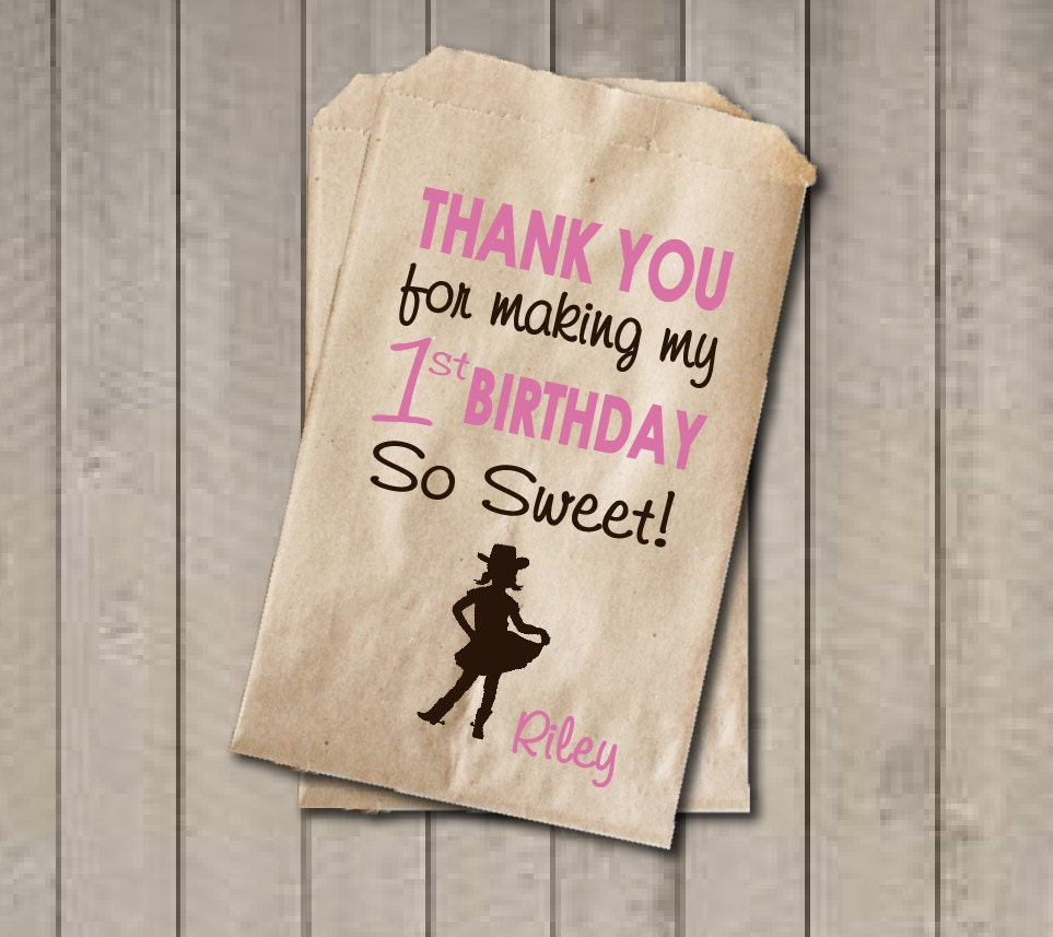 Girl Birthday Favor Bags Pink & Brown Cowgirl Candy Bags