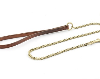 Chain Leash with flat leather handle