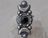 Sterling Silver and Onyx Ring Crescent Moon and Star