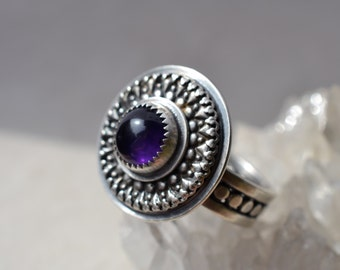 Sterling Silver and Amethyst Statement Ring