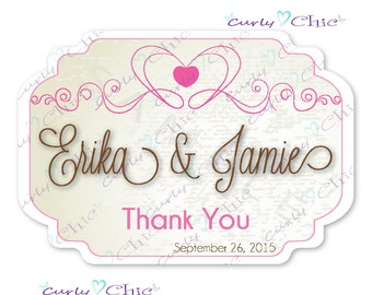 Thank you Stickers -Wedding Favor Stickers  -Custom Wedding Labels -Personalized Favor Stickers -Custom Wedding Stickers