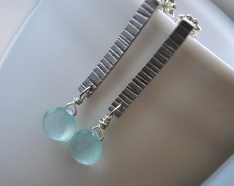 Sterling Silver and Blue Chalcedony Textured Post Earrings
