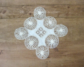 Antique Tatted Lace Cutwork Doily
