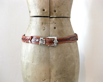 1970s Braided Leather Waist Belt // Small