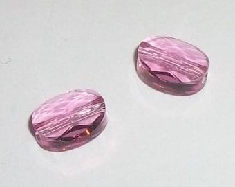 Oval Swarovski crystal beads 10x8mm and 8x6mm mini ovals style 5051 -- Rose Pink - 2 pcs per lot