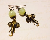 "Earrings - Bronze Elephant and Jade Dangles - ""I Remember You"""