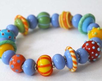 Colorful Bracelet, Stretch Bracelet, Lampwork Glass Bracelet, Beaded Bracelet, Whimsical Bracelet, Artisan Bracelet