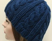 Navy Blue Beanie, Cable Knit Hat, Beanie, Navy blue hat