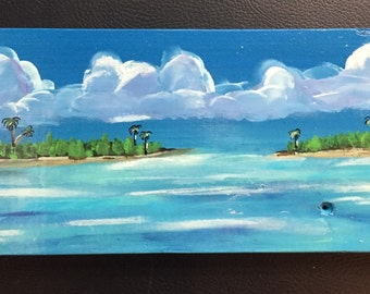 "Original Mixed Media Painting on Wood Block - Painting Home Decor Artwork - Folk Art - Whimsical ""Island Seascape"""