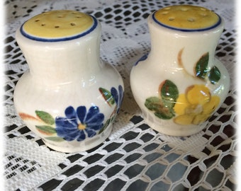 SALT PEPPER Shakers Red Wing China BRITTANY Yellow Rose Blue Flowers Handpainted