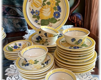 SERVICE for 5 Red Wing China BRITTANY Yellow Rose Blue Flowers Handpainted or Individual Place Settings