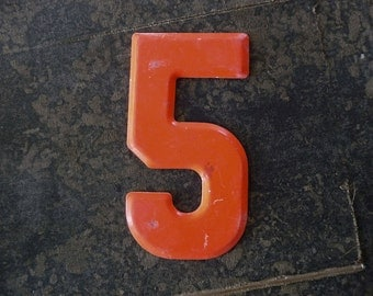 """5-1/2"""" tall, NUMBER 5, Vintage Metal Numbers 2-3-5-7-8-0 CENT Marquee Signage  -2-"""