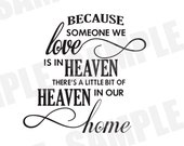 SVG Commercial/Personal Use Because Someone We Love is In Heaven Silhouette Cameo