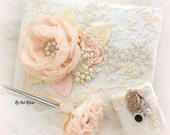 Guest Book, Blush, Champagne, Cream, Ivory, Wedding, Signature Book, Signing Pen, Lace, Crystals, Pearls, Vintage Style, Elegant