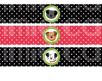 Puppy Party Cupcake Water Bottle Labels
