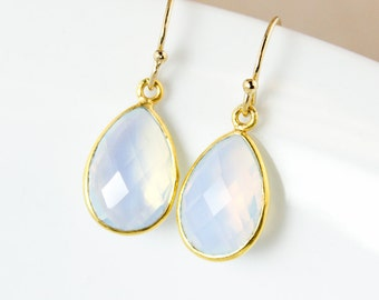 White Opalite Dangle Earrings – Teardrop – 14K Gold Fill