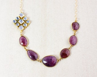 Pink Sapphire and Rainbow Moonstone Necklace - Bib Necklace