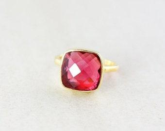 Gold Red Ruby Quartz Gemstone Ring - Stackable Ring - Cushion Cut