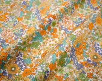 """Quilt Knitting Half Yard Cotton 18x44"""" Retro Vintage Chic Flower in Orange and Green"""