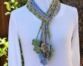 Crochet Pattern, Crochet Scarf Patterns,  Easy to Crochet Trellis Scarf Tutorial with Flower Fringe, Openwork Scarf Design, DIY Gift Idea