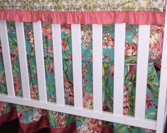 Ritzy Baby Love Bliss Bouquet Teal and Coral Gathered 3 or 4-Sided Crib Skirt