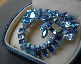 Vintage Rhinestones Crystals Brooch Rhodium Wedding Jewelry Finish Free Shipping To The Usa And Canada