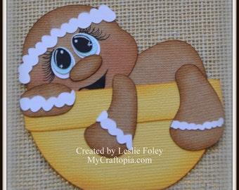 Gingerbread  Bowl Christmas Premade Scrapbooking Embellishment Paper Piecing