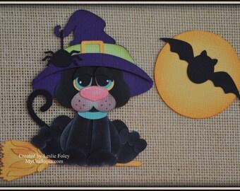 Black Cat Halloween Premade Scrapbooking Embellishment Paper Piecing set