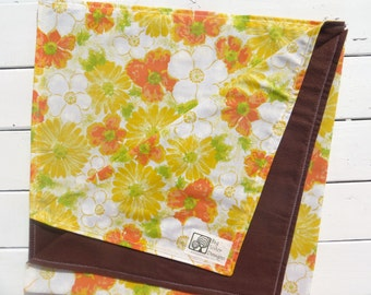 Reversible Baby Blanket Chocolate Brown Flannel with Vintage Yellow and Orange Sheet