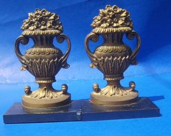 Antique Bradley and Hubbard Cast Iron Jardiniere Urn Bookends