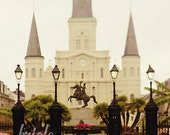 New Orleans Art, St. Louis Cathedral Photography, Wall Art, Looking Through Jackson Square Photo. French Quarter Print. Mardi Gras.