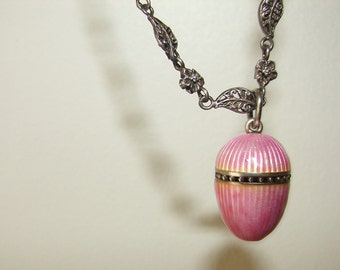 Free Shipping Antique Sterling and Pink Guilloche Enamel Egg Shaped Vinaigrette Perfumer Pendant Necklace