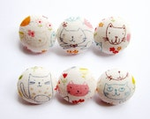 Fabric Covered Buttons - Cat Doodles - 6 Medium Fabric Buttons