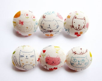 Cat Buttons Sewing Buttons / Fabric Buttons - Cat Doodles - 6 Medium Fabric Buttons