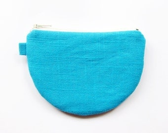 Teacup Zipper Pouch / Half Moon Zipper Pouch - Bright Blue Linen