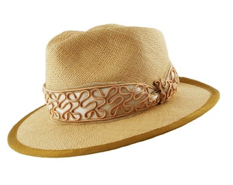Panama Hat - Tan with Vintage band