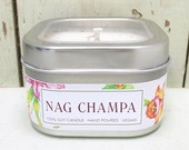 Nag Champa Soy Candle  8 oz. - Green Daffodil  - Handpoured by Siouxsan and Anne -C8