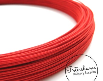 1.0mm (30 Gauge) Firm Cotton Covered Millinery Wire (For Hat Making, Flower Making) - Red