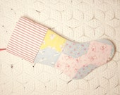 RESERVED - Adorable Puppies Feed Sack Vintage Quilt Stocking with Ticking Cuff