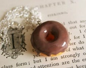 Chocolate covered Doughut charm pendant Necklace with Silver Chain cool food fun novelty Donut